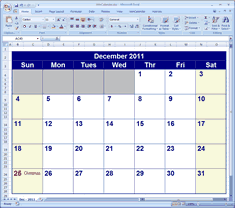 free excell calendar